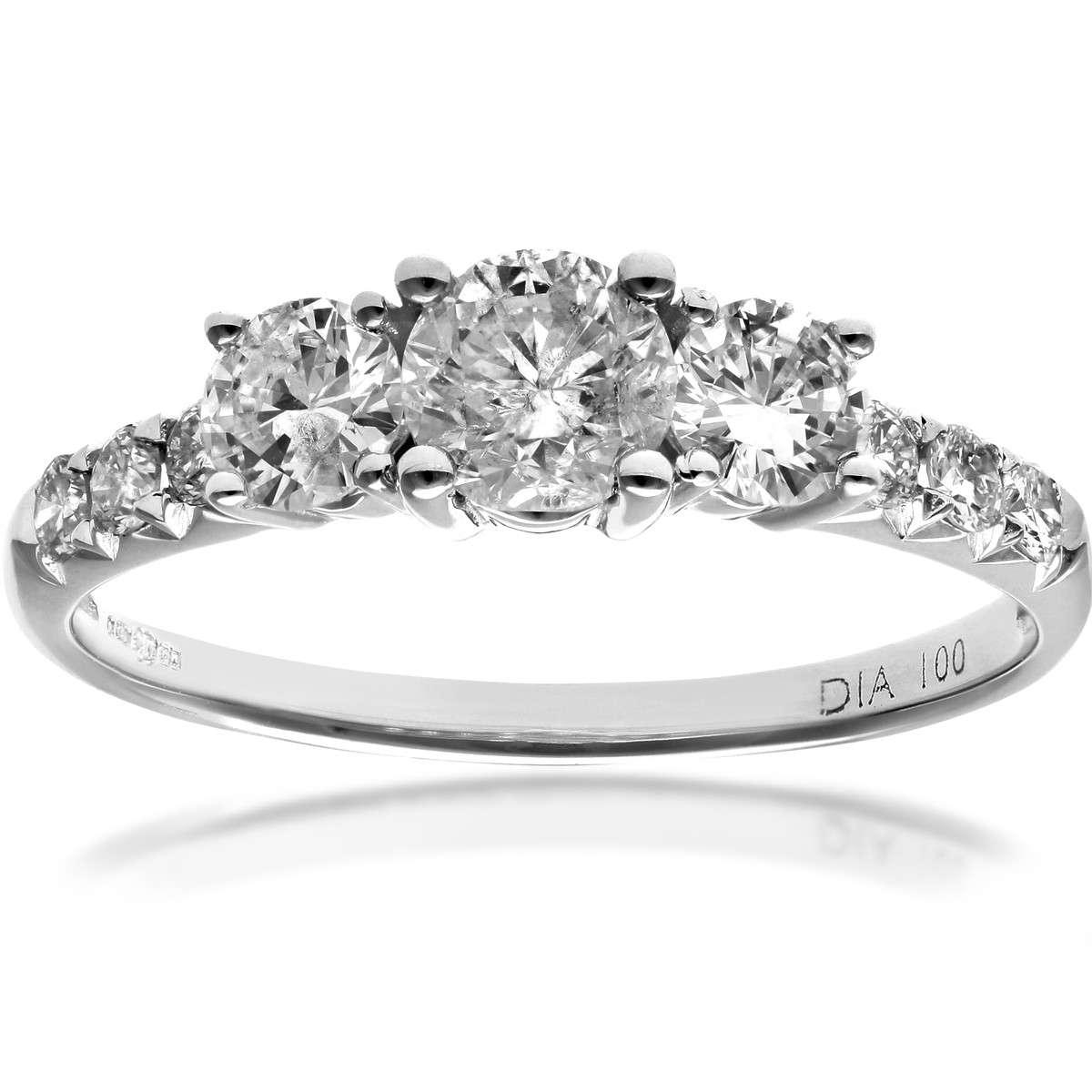 18CT WHITE GOLD 1.00CT DIAMOND ENGAGEMENT SHOULDER RING