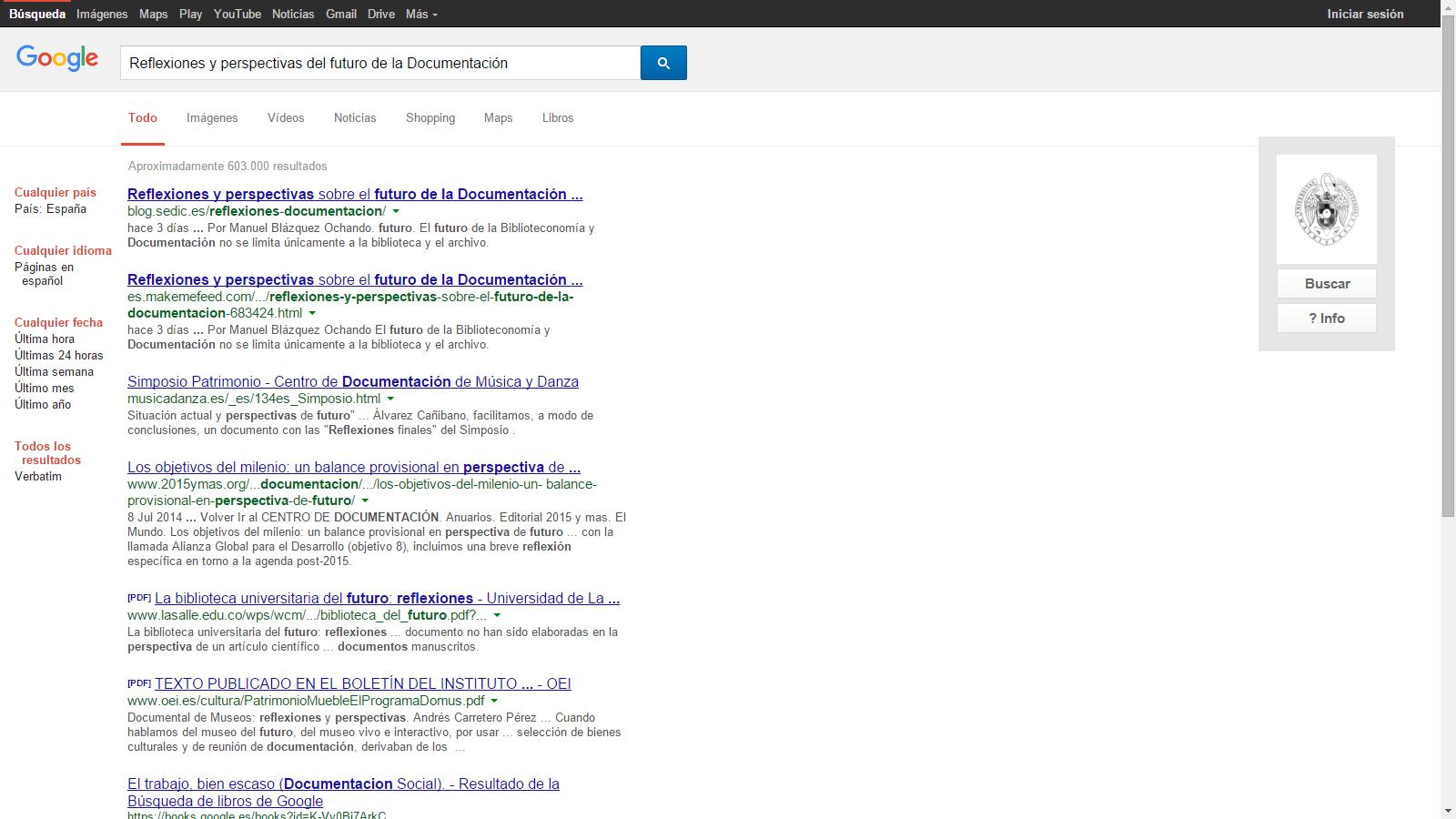 La técnica de suplantación funciona con las consultas y los resultados originales de Google, sólo el logotipo de la Universidad Complutense desvela que el sitio web de Google no es original
