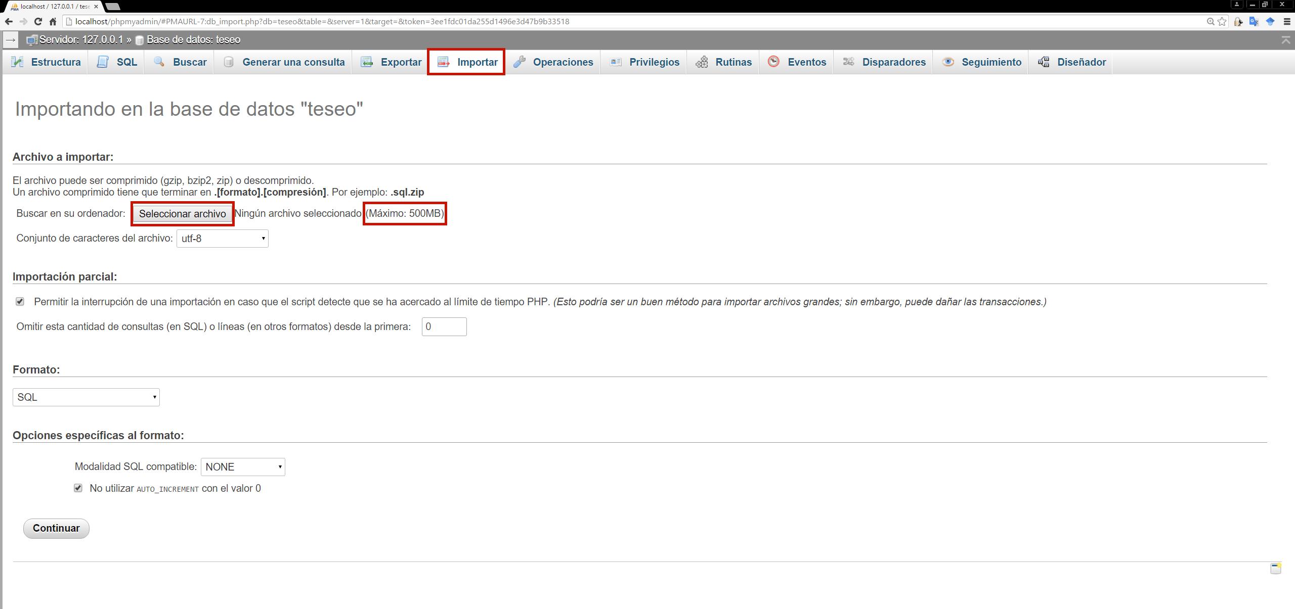 Fig.4. Pantalla de importación de PHPMyAdmin. Obsérvese que el límite del tamaño de archivos es de 500MB, lo que permitirá una correcta importación