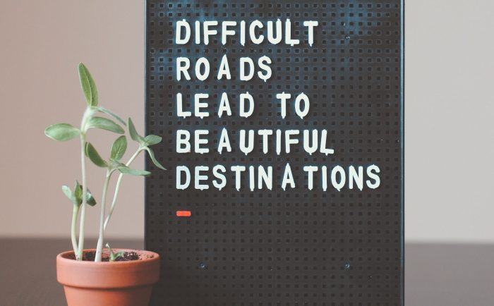 """A sign that reads """"difficult roads lead to beautiful destinations"""" next to a plant in a pot"""