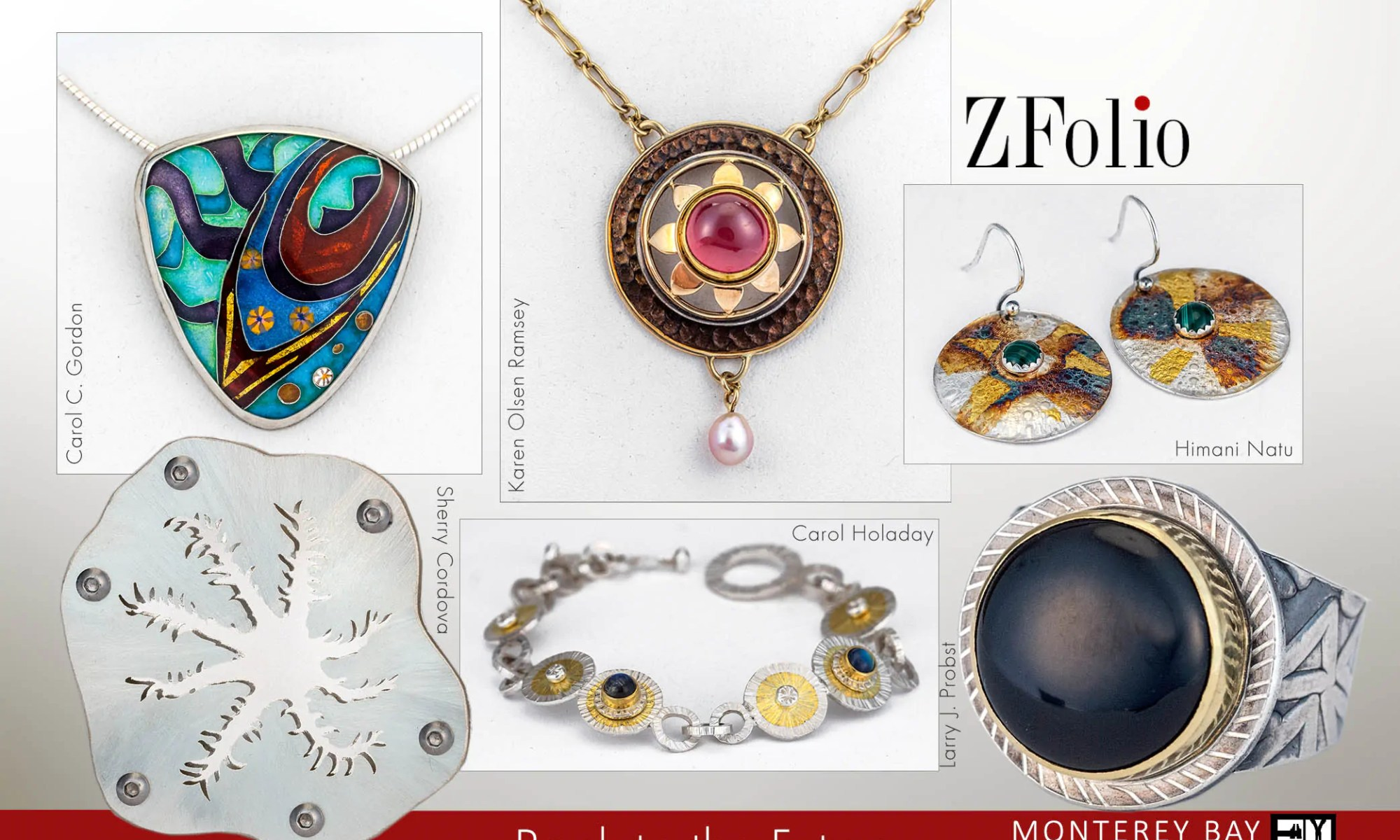 "front of postcard image for ZFolio Gallery show ""Back to the future"" features a brooch, pendants, earrings, a bracelet, and a ring"