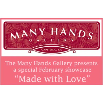 Artwork with logo for Many Hands Gallery Show: Made with Love 2011