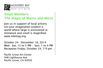 Postcard back for Small Wonders at the Pacific Grove Art Center in 2014