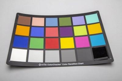 x-rite colorChecker color rendition chart with black velvet replacing the black square