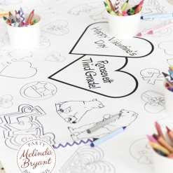 Personalized Valentine's Day activity tablecloth