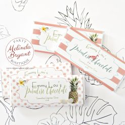 Personalized tropical pink candy bar wrappers