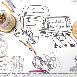 coloring table runner featuring a classic pickup truck decorated with cans and the names of the bride and groom