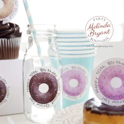 personalized donut stickers on milk bottle