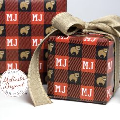 buffalo check gift wrap with monogram