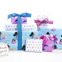Personalized mermaid gift wrap set