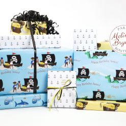Sharks and pirates gift wrap set