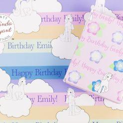 Rainbow unicorn gift wrap set