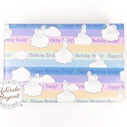 personalized rainbow unicorn gift wrap