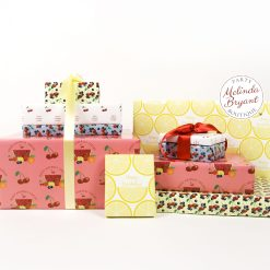 mix and match fruit themed gift wrap set