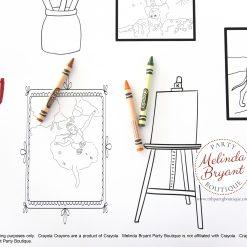 Artist themed coloring table runner