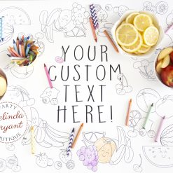Fruit stand themed personalized coloring table runner