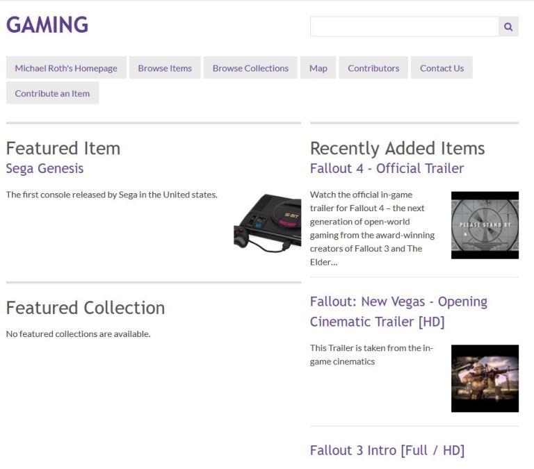 Gaming Exhibit Homepage Screenshot