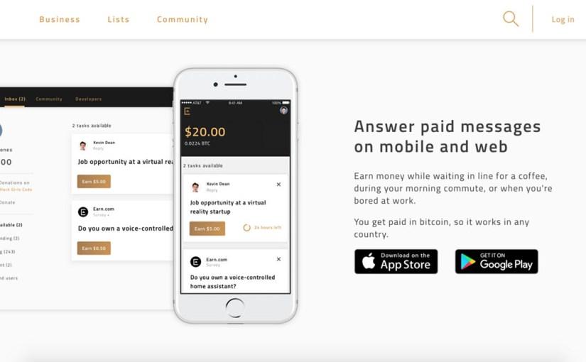 Earn.com ile Gelen maillere cevap ver, görevleri tamamla Bitcoin kazan