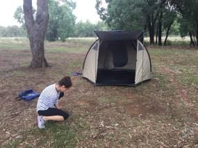 Warrenbungles setting up tent 2017