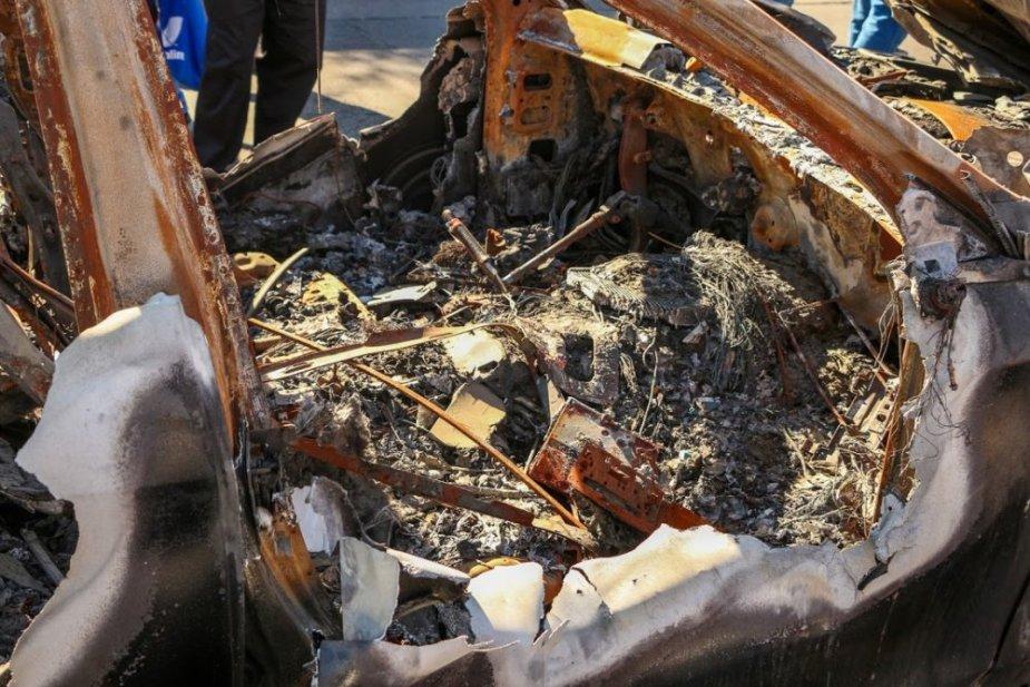 Burned Maybach Front Interior