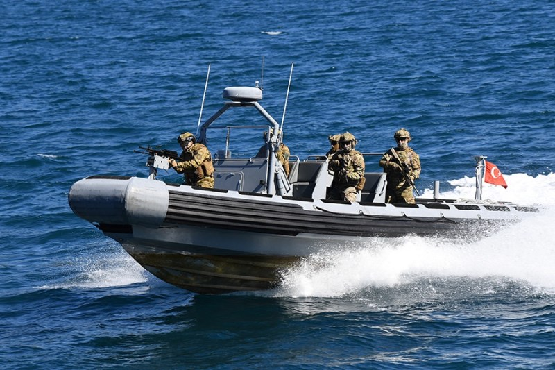 March 22, 2020, Mediterranean Sea - Operation Sea Guardian Focused Ops 20-2 Flagship TCG Buyukada Boarding team exercising upon their departure from Aksaz, Turkey. Photo Credit: Turkish Navy.