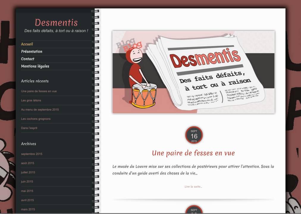 Desmentis, blog sarcastique