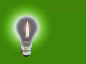 Light bulb with flame