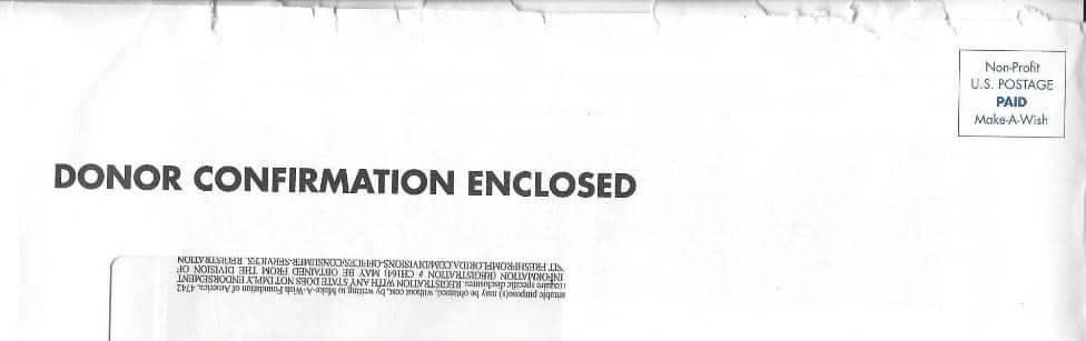 Donor confirmation enclosed