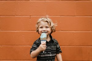 happy boy with ice cream cone