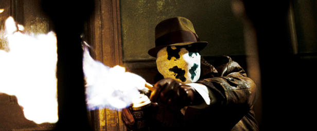 "Jackie Earle Haley brings Rorschach to menacing life in ""Watchmen."""