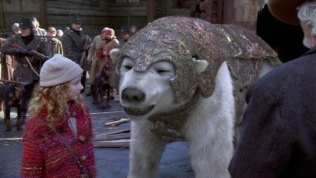 "Young Lyra (Dakota Blue Richards) finds an unlikely bodyguard -- Lorek the Ice Bear (Sir Ian McKellan) -- in ""The Golden Compass."""