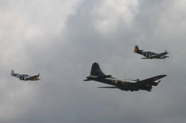 "Boeing B-17G Flying Fortress ""Sally B"" & North American P-51D Mustangs ""Ferocious Frankie"" & ""Miss Velma"""