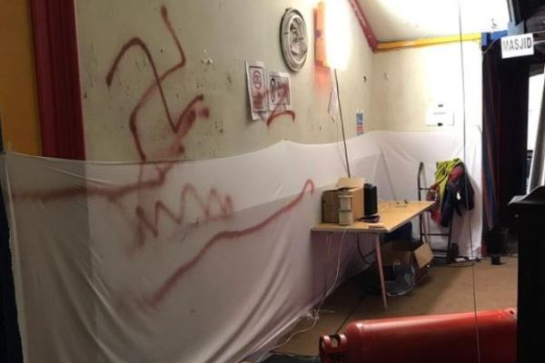 Swastika graffiti painted in Islamic school by vandals