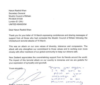 Letter from Prime Minister of New Zealand to MCB