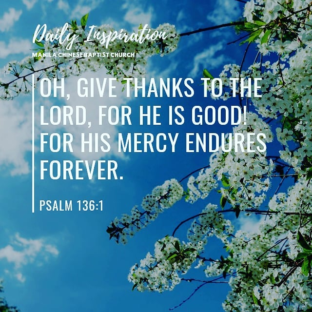 Oh, give thanks to the Lord, for He is good! For His mercy endures forever. ~ Ps…