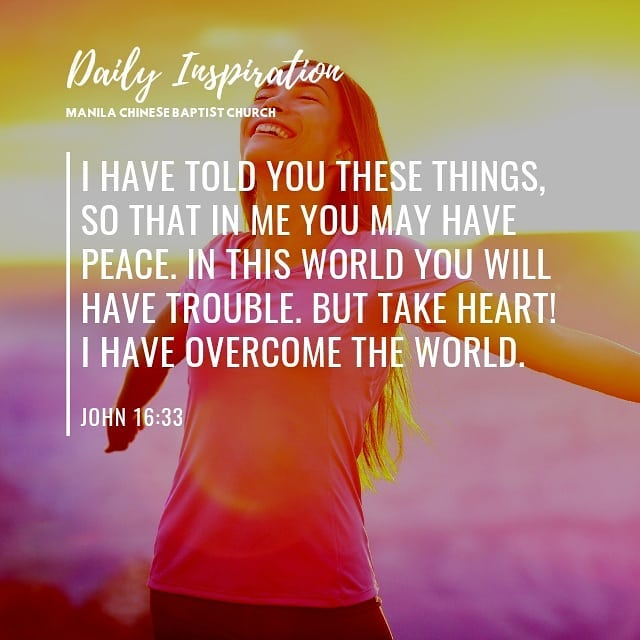 I have told you these things, so that in me you may have peace. In this world yo…
