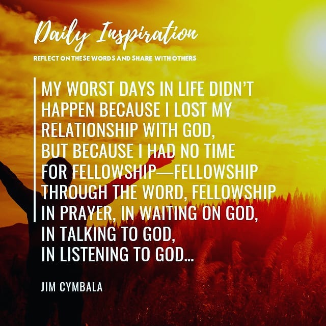 My worst days in life didn't happen because I lost my relationship with God, but…