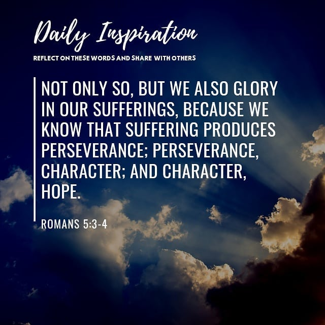 Not only so, but we also glory in our sufferings, because we know that suffering…