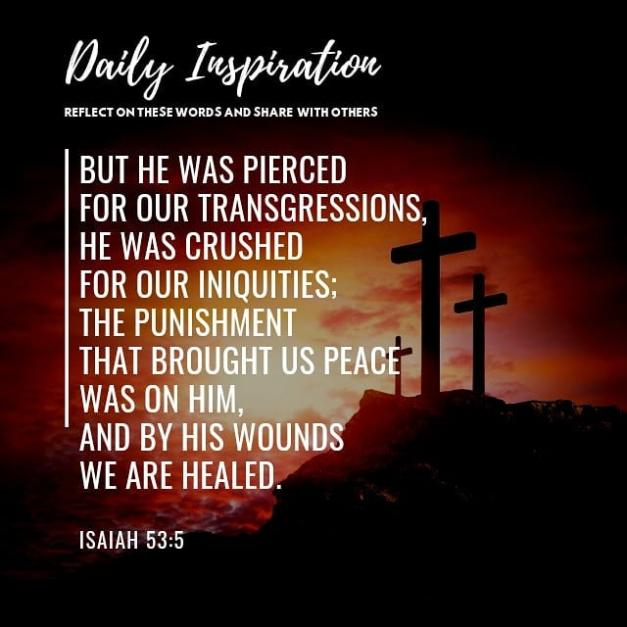 But he was pierced for our transgressions, he was crushed for our iniquities; th…