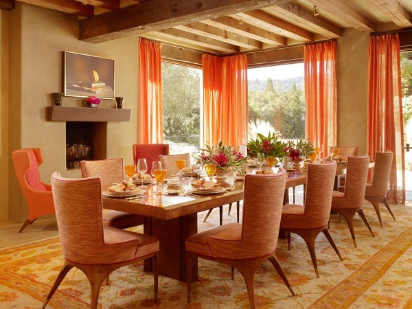 Pumpkin Orange Dining Room