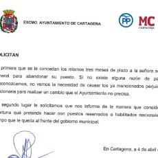 MC Cartagena, PP y Ciudadanos exigen a la alcaldesa que dispense el mismo trato a los habilitados nacionales que desempeñan su labor en el Ayuntamiento