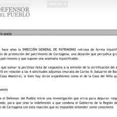 El Defensor del Pueblo, a instancias de MC, investiga los reiterados retrasos de la CARM en los expedientes de protección del patrimonio de Cartagena