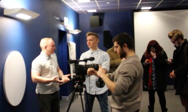 Jon Rosling with filmmaking society students James and Ioannis