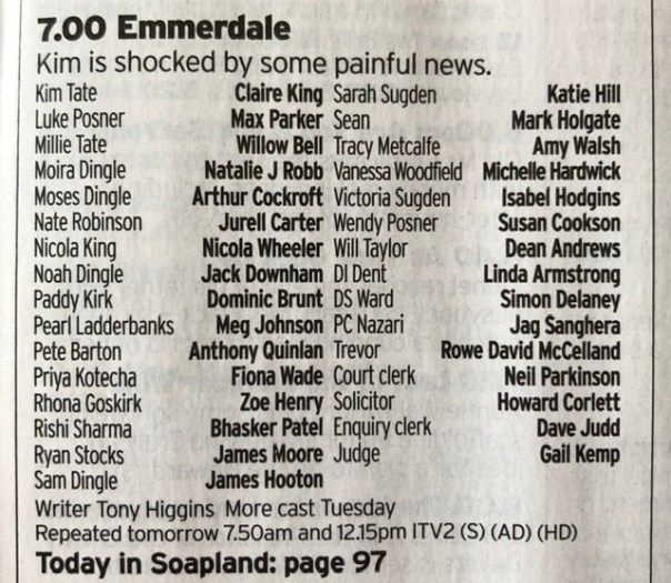 Cast list, Emmerdale Jan 30