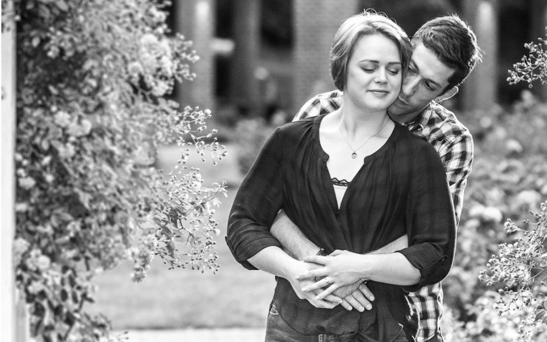 Paige and Kevin's Schenectady Rose Garden Engagement Photos