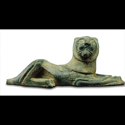 Bronze reclining lion Vessel applique, Greek, Laconian?, Ca. 525 BC, Length 4 1/8 in.