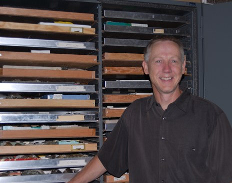 Natural History Curator, Gerald Dinkins, in the Malacology Lab.