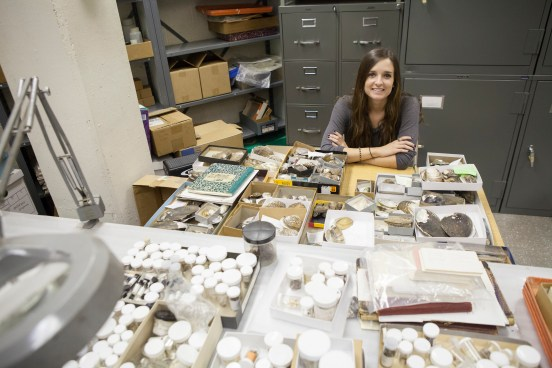 Student Assistant Kristin Irwin catalogues specimens in the Malacology Lab.