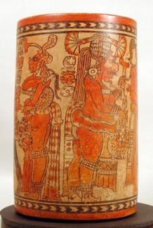 polychrome relief Polychrome Cylinder Vessel, Chama, Guatemala, Late Classic (600–800 C.E.), pottery, 13 x 7 x 7 inches. Collection of the University of Pennsylvania Museum of Archaeology and Anthropology, 38-14-1