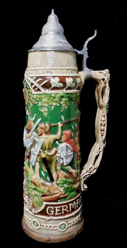 Stein, earthenware, 1900-1910, made by Mathias Girmscheid, Höhr-Grenzhausen, Rhineland-Palatinate, 1934.1.734.